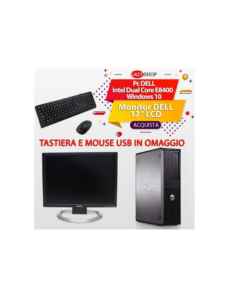 """Pc DELL Intel Dual Core E8400  Windows 10  Monitor DELL 17"""" LCD"""