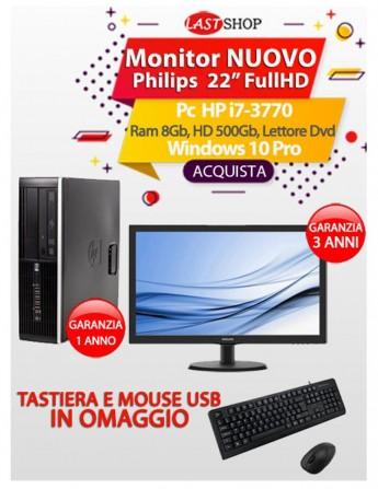 "Pc HP i7-3770 - Ram 8Gb - HD 500Gb - Lettore Dvd - Windows 10 Pro + Monitor nuovo Philips 22"" FullHD"