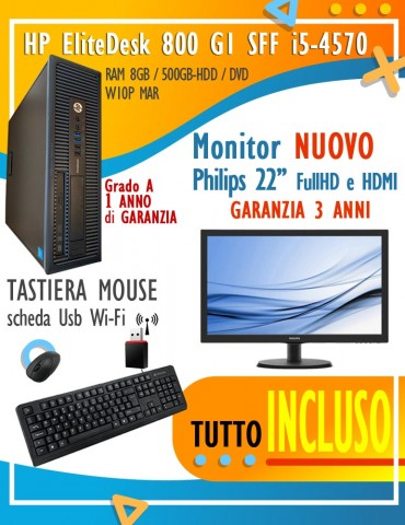 "HP EliteDesk 800 G1 SFF  i5-4570 / RAM 8GB / 500GB-HDD / DVD / W10P MAR - Monitor NUOVO Philips 22"" FullHD + Tast, Mouse e Wi-Fi"