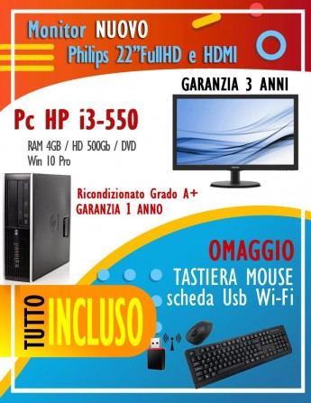 "HP i3-550 - Ram 4Gb - HD 500Gb - Lettore Dvd - Windows 10 Pro Monitor NUOVO Philips 22"" FullHD + Tast, Mouse e Wi-Fi"