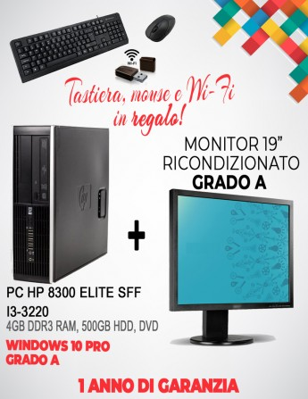 "HP 8300 Elite SFF, i3-3220, 4GB DDR3 RAM, 500GB HDD, DVD - Monitor Ricondizionato 19"" Grado A + Tast, Mouse e Wi-Fi"