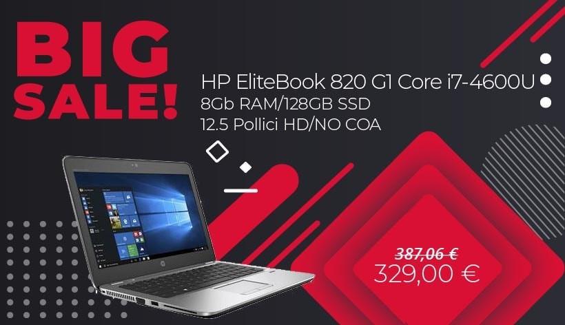 HP ELITEBOOK 820 G1 i7-4600U/8Gb RAM/128GB SSD/12.5 Pollici HD/NO COA