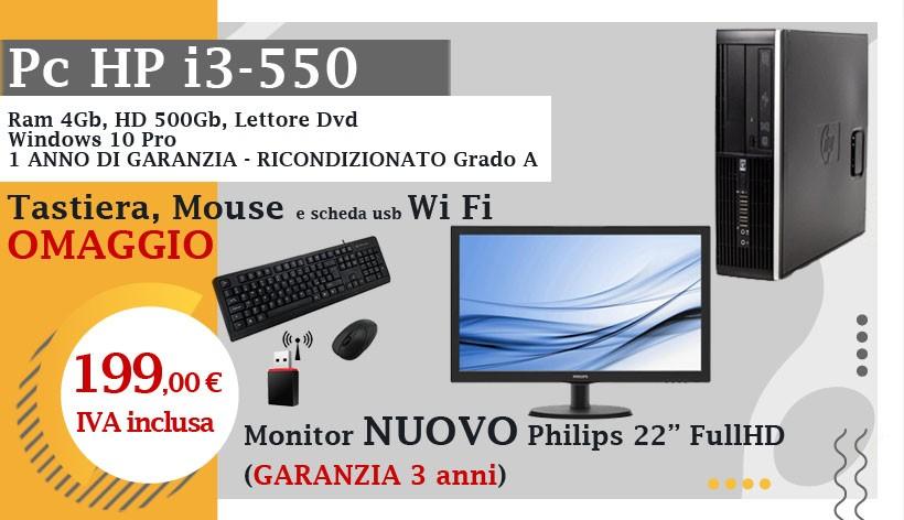 """Pc HP i3-550, Ram 4Gb, HD 500Gb, Lettore Dvd, Windows 10 Pro, 1 anno di garanzia, Grado A + Monitor NUOVO Philips 22"""" FullHD (garanzia 3 anni) Tastiera, Mouse e Scheda Usb Wi-Fi in omaggio"""