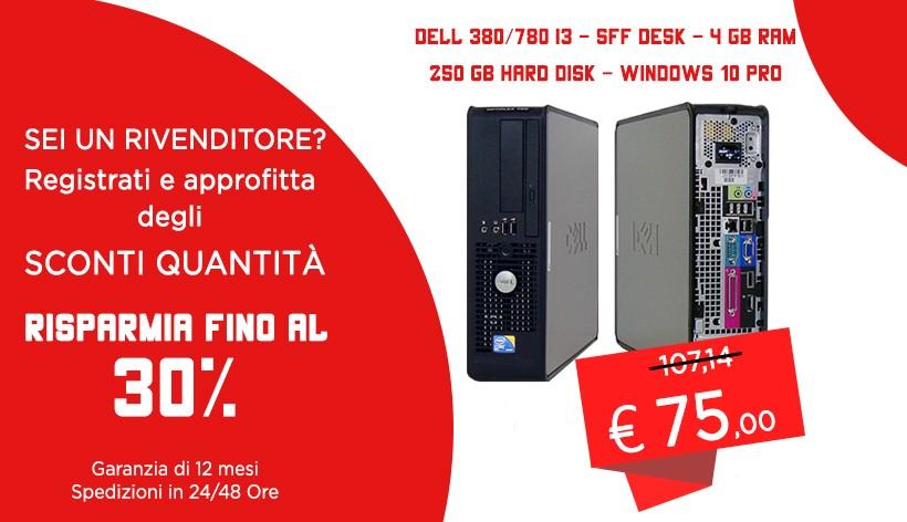 PC DEL 380/780  SFF DESK 4 GB RAM  250 GB HARD DISK WINDOWS 10 PRO RICONDIZIONATO