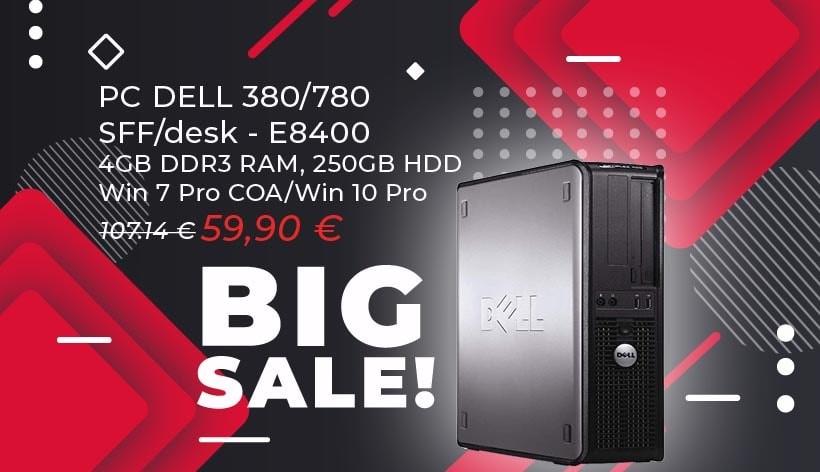 PC DELL 380/780 SFF/desk, E8400, 4GB DDR3 RAM, 250GB HDD, Win 7 Pro COA/Win 10 Pro