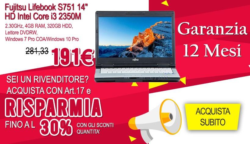 "Fujitsu Lifebook S751 14"" HD Intel Core i3 2350M 2.30GHz, 4GB RAM, 320GB HDD, Lettore DVDRW, Windows 7 Pro COA/Windows 10 Pro"