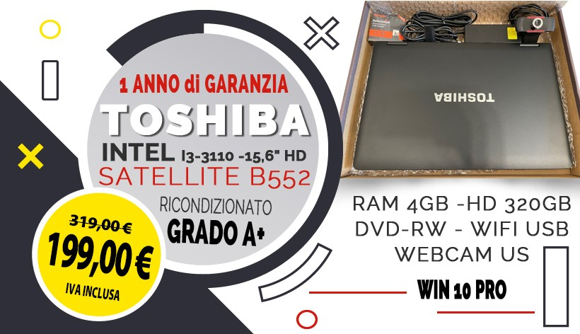 """TOSHIBA SATELLITE B552 INTEL I3-3110 -15,6"""" HD - RAM 4GB -HD 320GB - DVD-RW - WIFI USB - WEBCAM USB - WIN 10 PRO"""