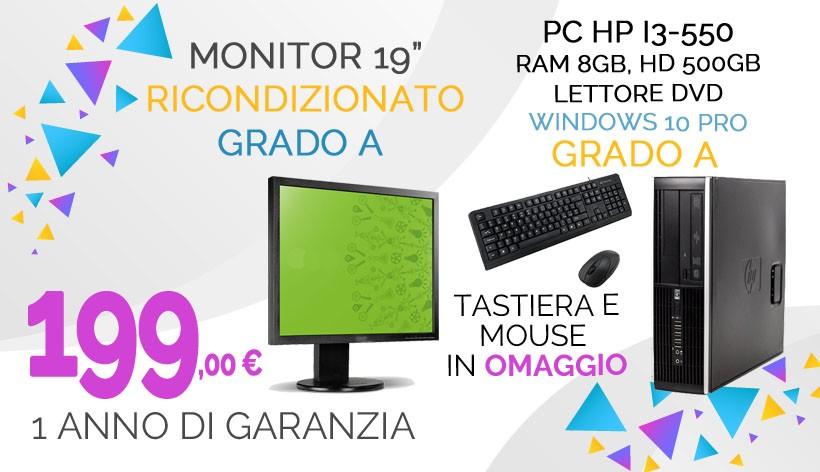 """Pc HP i3-550, Ram 8Gb, HD 750Gb, Lettore Dvd, Windows 10 Pro, 1 anno di garanzia, Grado A + Monitor 19"""" RICONDIZIONATO GRADO A Tastiera e Mouse  in omaggio"""
