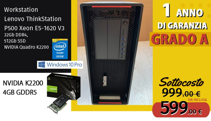 Workstation Lenovo ThinkStation P500 Xeon E5-1620 V3, 32Gb DDR4, 512Gb SSD, NVIDIA Quadro K2200