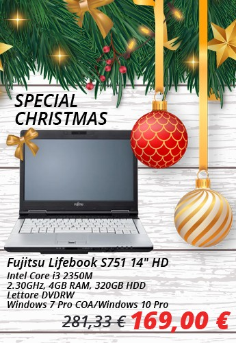 "Fujitsu Lifebook S751 14"" HD Intel Core i3 2350M 2.30GHz, 4GB RAM, 320GB HDD, Lettore DVDRW, Windows 7 Pro COA/Windows 10 Pro"