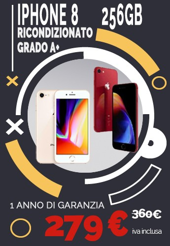 iPhone 8 256GB Gold o RED Grado A+ 1 anno di garanzia