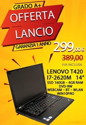 Lenovo T420 i7-2620M - 14 pollici - SSD 160 GB - 4GB RAM - DVD-RW - WEBCAM - BT - WLAN - WIN 10 PRO