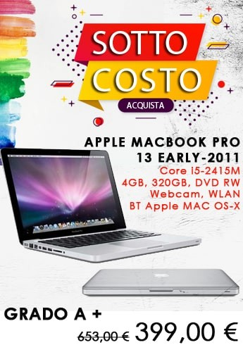 APPLE MACBOOK PRO 13 EARLY-2011 Core i5-2415M, 4GB, 320GB, DVD RW, Webcam, WLAN, BT Apple MAC OS-X